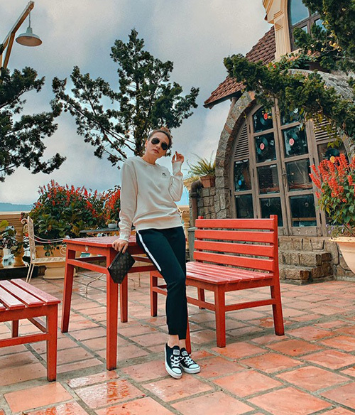 Bảo Thanh tận hưởng không khí trong lành ở Đà Lạt.
