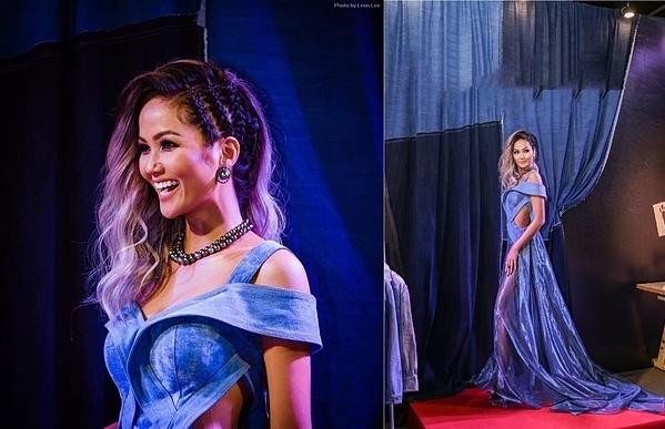 HHen Niê khác biệt với trang phục cá tính. Chất liệu denim từ bộ cánh cut-outmix cùng mái tóc màu khói giúp Hoa hậu Hoàn vũ Việt Nam 2017 được giới mộ điệu thời trang đánh giá cao.