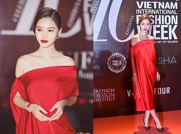 Jolie Nguyễn chọn tông đỏ cho màu son, trang phục hở vai chất lụa mỏng. Ngoài ra, cô còn sử dụng đồng hồ hiệu Richard Mille có giá 800 triệu để tăng sự sang trọng cho vẻ ngoài của mình.