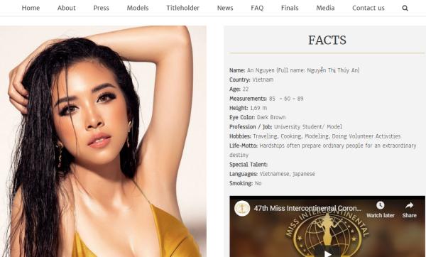 Hình ảnh của Thúy Antrên trang chủ Miss Intercontinental.