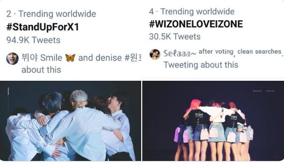 Ngày hôm qua, hững từ khóa ủng hộ X1 và IZONE đã xuất hiện trên top trending Twitter toàn cầu.