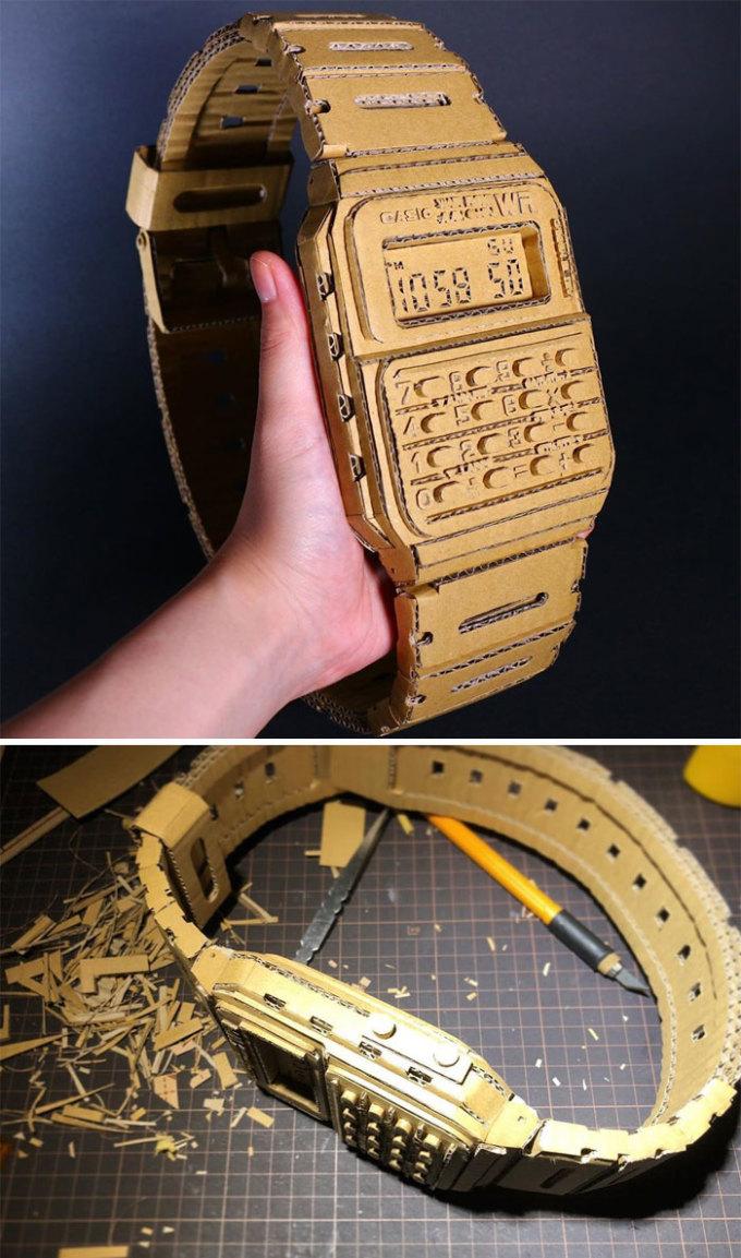 <p> Một chiếc đồng hồ điện tử đeo tay được điêu khắc tỉ mỉ đến từng chi tiết.</p>