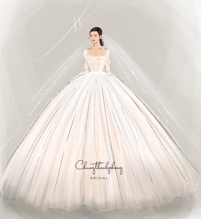 Trong khi đó, chiếc đầm cưới chính lại có thiết kế bắt mắt hơn khi được đính kết tinh xảo, cổ áo vuông, tay dài tinh tế và phần chân váy bồng xoè lộng lẫy.