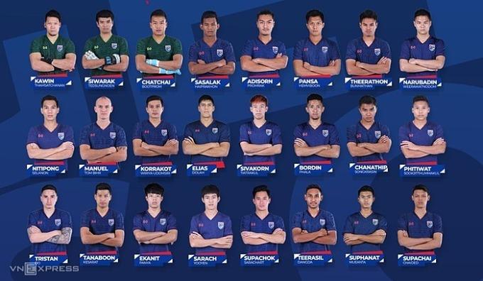 Thái Lan công bố danh sách 24 cầu thủ trận Việt Nam. Ảnh: VnExpress.