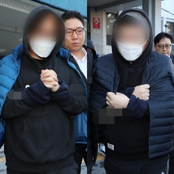 PD Ahn (trái) và Kim Yong Bum xuất hiện tại Sởcảnh sát quận Jongno vào sáng nay sau khi vụ án được chuyển lên công tố.