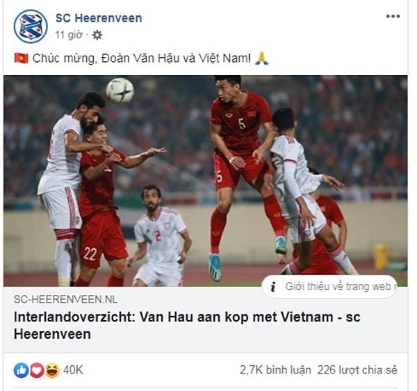 CLB  Heerenveen chúc mừng tuyển Việt Nam và Văn Hậu.