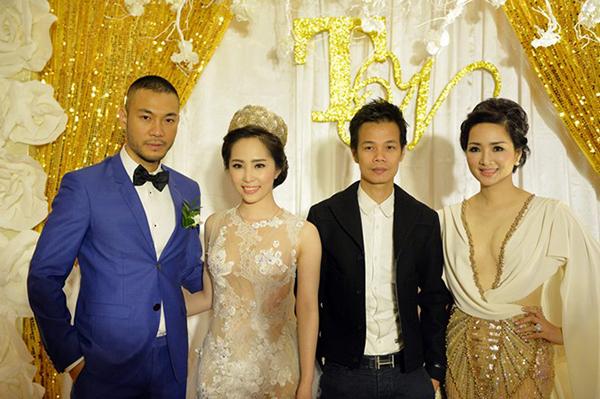 Giáng My lấn át cô dâu Quỳnh Nga với chiếc váy xẻ sâu gần đến rốn để khoe vòng một. Thân dưới của váy là chất liệu xuyên thấu cũng gợi cảm quá mức.
