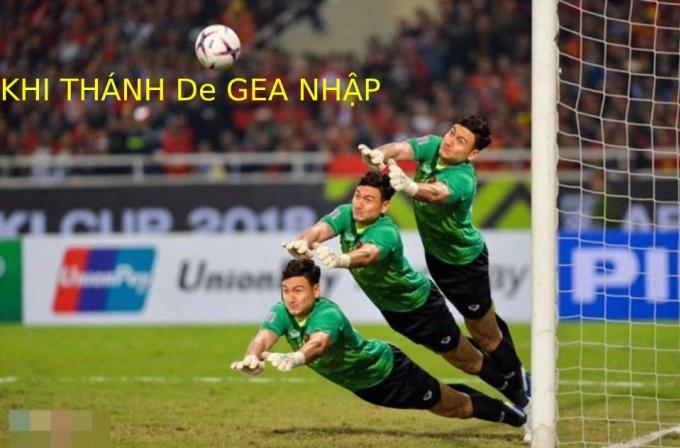 <p> Trong hiệp 1, Văn Lâm đổ người cản phá bóng bằng chân cứu thua cho Việt Nam trong quả penalty.</p>
