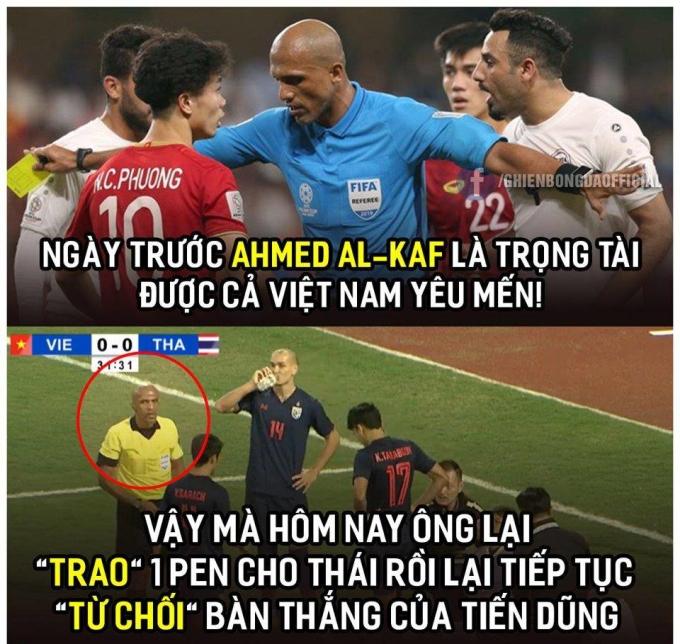 Trọng tài bị chế ảnh vì hai lần từ chối bàn thắng của Việt Nam