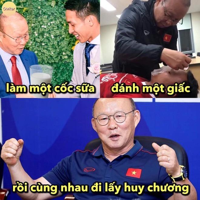 <p> Thầy Park cũng được mang đi chế ảnh quyết tâm đánh bại Thái Lan.</p>