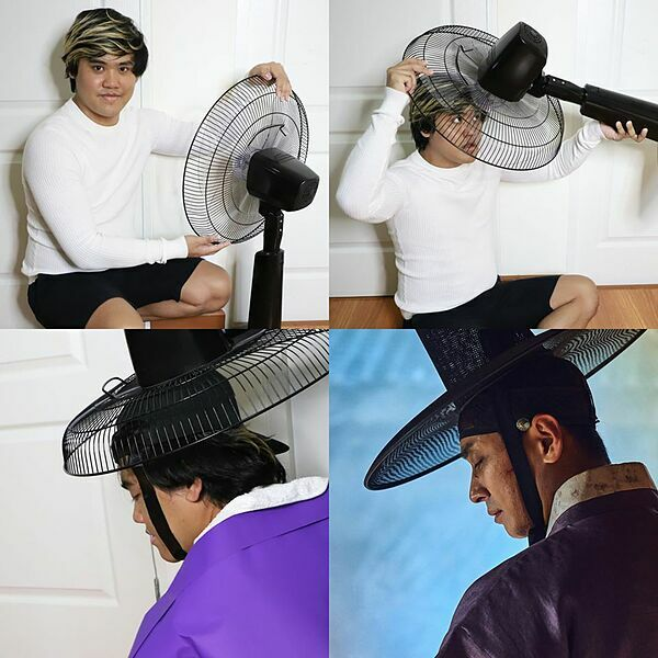 Để tạo nên những bộ trang phục cổ trang, một nửa cái lồng quạt là đủ.