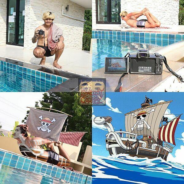 Hóa trang thành đảo hải tặc ngay trong trong bể bơi không quá khó.