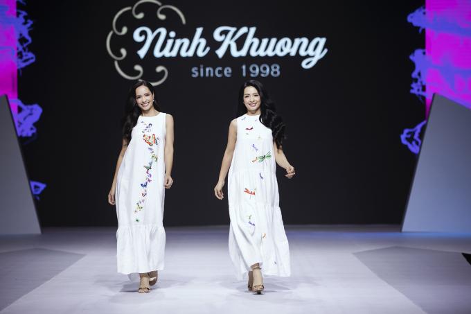 """<p> Chị em cựu siêu mẫu Thuý Hằng - Thúy Hạnh trở lại sàn diễn thời trang trong BST """"Prince & Princess"""" của thương hiệu Ninh Khương.</p>"""