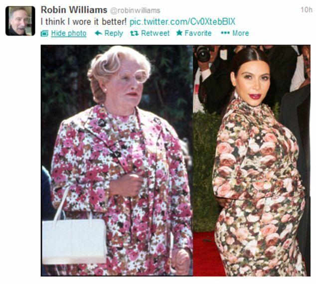 Robin Williams đặt hình Kim cạnh nhân vật Mrs. Doubtfire cùng dòng chú thích Tôi mặc còn đẹp hơn.