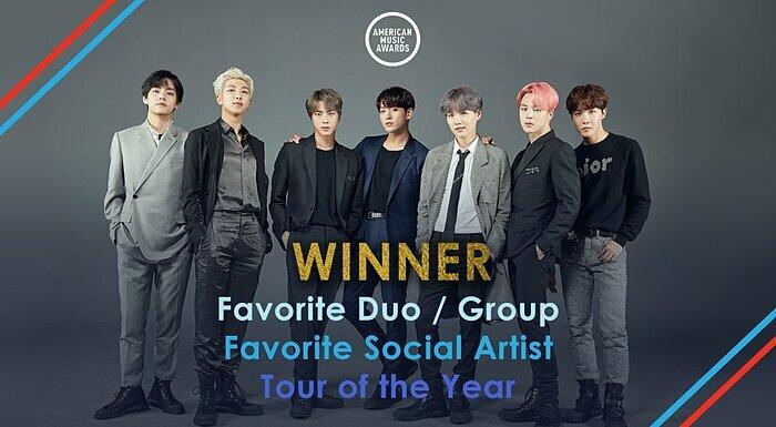 BTS giành cả ba chiến thắng trên ba đề cử nhận được tại AMAs 2019.