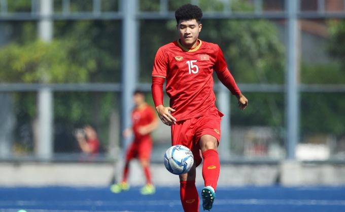 <p> Hà Đức Chinh hưng phấn sau khi thi đấu thăng hoa, ghi bốn bàn vào lưới Brunei hôm 25/11.</p>