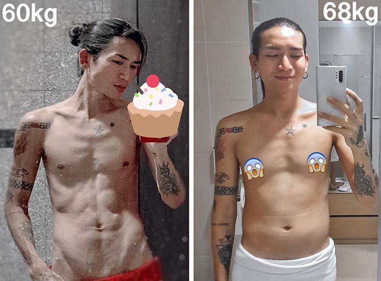 BB Trần tiết lộ mình là người rất dễ tăng cân. Trong 2 tuần, anh chàng tăng đến 8 kg vì ăn uống thoải mái.