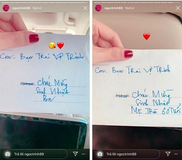 Bạn trai Ngọc Trinh gửi phong bì mừng sinh nhật bố mẹ cô cách đây một tháng. Anh xưng hô: Con - bạn trai vợ Trinh.