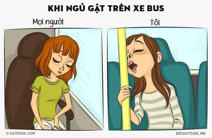 <p> Bạn nghĩ dù có ngủ quên trên xe buýt nhưng vẫn giữ được dáng vẻ xinh đẹp vốn có? Không đâu, đó là cả một thảm họa.</p>