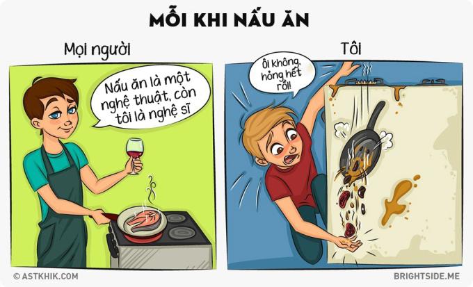 <p> Nhìn mọi người nấu ăn đơn giản bản thân tôi cũng thầm ao ước, nhưng thực tế khác với tưởng tượng.</p>