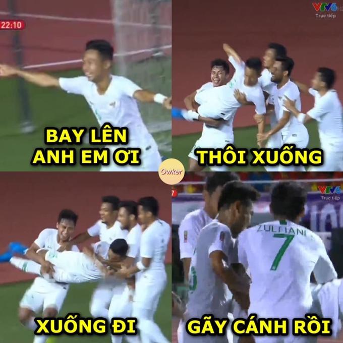 <p> Còn đây là viễn cảnh ăn mừng của tuyển thủ Indonesia ở hiệp một và cuối giờ.</p>
