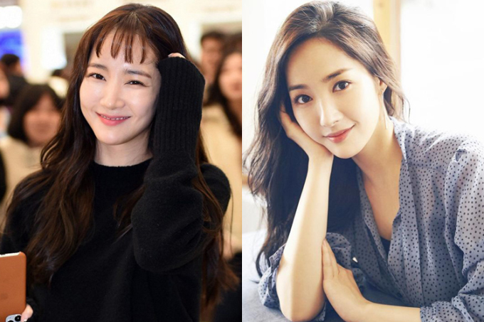 Kiểu tóc không phù hợp khiến nữ thần nhan sắc trông ngố tàu. Lúc để tóc mái dài, Park Min Young khoe được gương mặt đẹp thanh thoát và rất sang trọng.