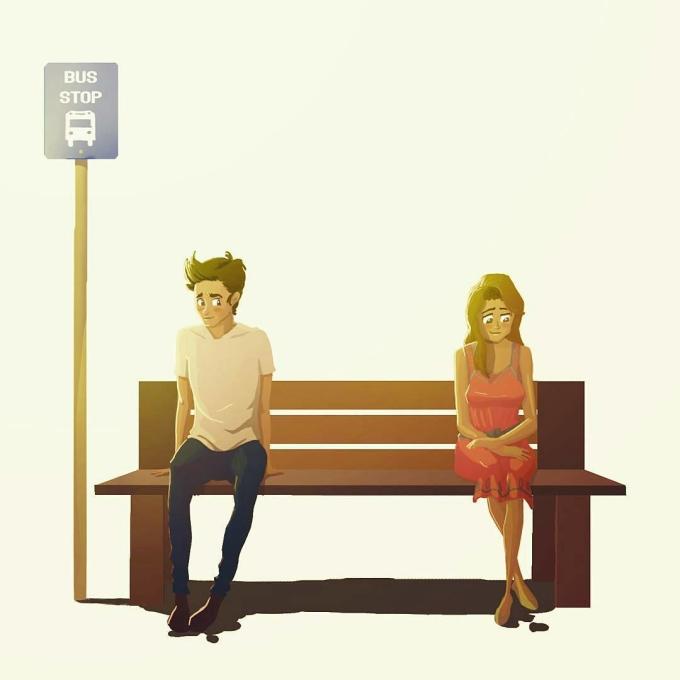 <p> ... hay tại điểm chờ xe buýt. Từ hai người xa lạ, bạn và người ấy vô tình cảm mến nhau chỉ qua một ánh nhìn.</p>
