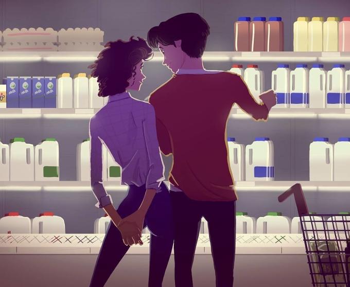 <p> Và cả những lần được cùng ai đó đi mua đồ. Dù không khí chẳng lãng mạn, đông đúc và chật chội nhưng chỉ cần đi bên nhau là được.</p>