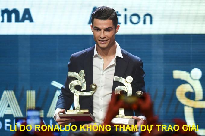 <p> Giống như ở Lễ trao giải The Best, Ronaldo được cho là biết trước kết quả và không đến dự đêm gala. Anh tham dự Lễ trao giải Gran Gala del Calcio của Hiệp hội cầu thủ nhà nghề Italy.</p>