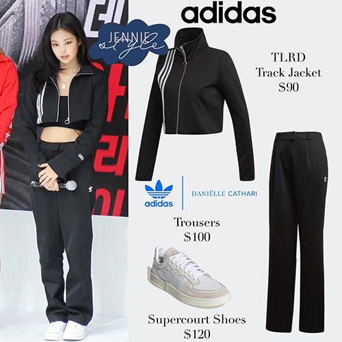 Set đồ của Jennie gồm áo khoác kéo khóa, có viền sọc trắng đặc trưng của Adidas, đi kèm quần jogger ống suông. Tổng giá trị set đồ là 190 USD (gần 4,5 triệu đồng).