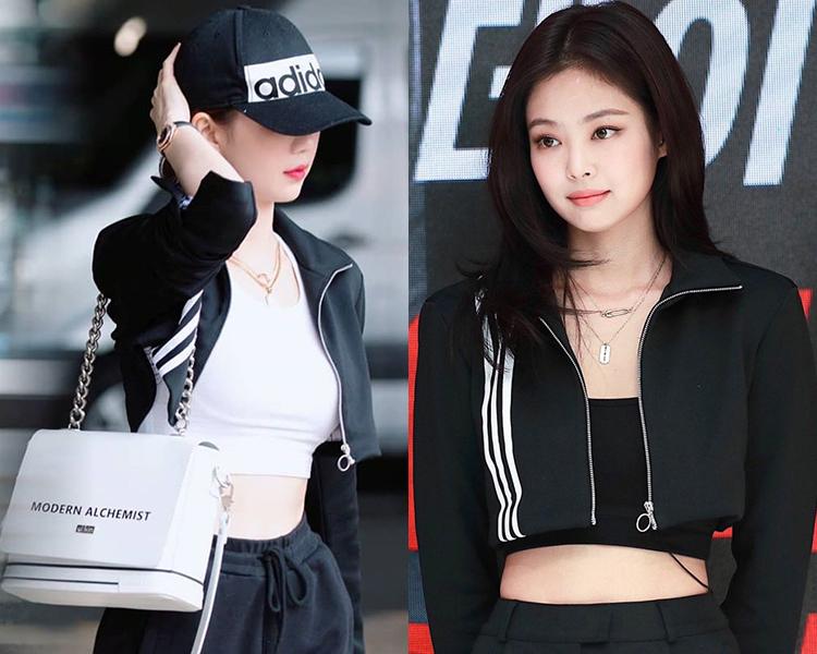 Ngọc Trinh cũng áp dụng cách cắt áo để giúp chiếc áo khoác chỉ ngắn đến eo, tạo cảm giác thân hình cao ráo hơn. Cô mix không quá khác biệt so với Jennie, trừ việc thay tank top phía trong từ màu đen thành trắng.