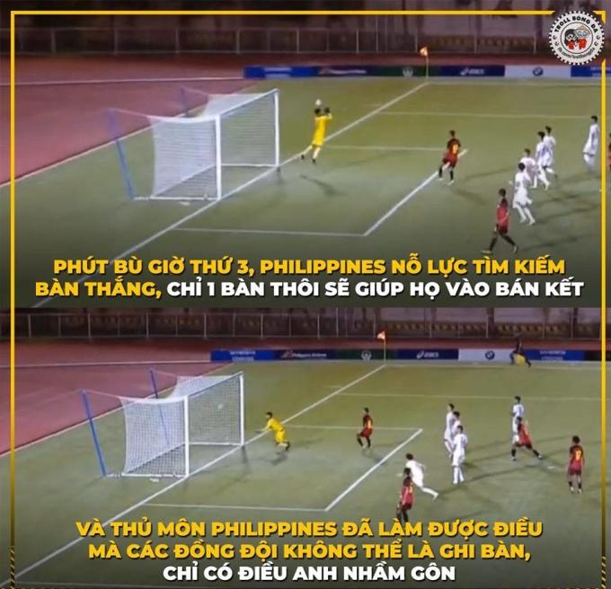 <p> Chủ nhà Philippines đánh bại Timor Leste với tỉ số 6-1. Tuy nhiên, chiến thắng của họ trở nên vô nghĩa khi trong trận đấu cùng giờ, Campuchia cũng đánh bại Malaysia, hơn về hiệu số nên đã giành vé vào bán kết.</p>