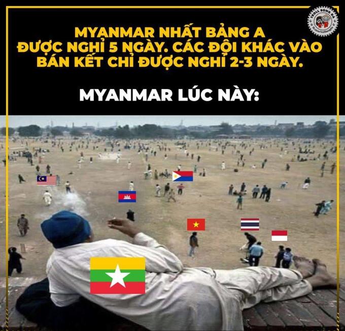 <p> Chiều ngày 4/12, lượt trận cuối bảng A môn bóng đá nam SEA Games diễn ra. Trước lượt trận này, U22 Myanmar chắc suất vào bán kết khi đứng ngôi đầu với 10 điểm. Tâm thế thảnh thơi của U22 Myanmar được thể hiện qua bức ảnh trên.</p>