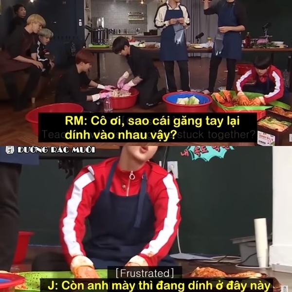 Jin than phiền về sự lười biếng của các thành viên trong nhóm khi tham gia trò muối kim chi trong show thực tế RUN!BTS.