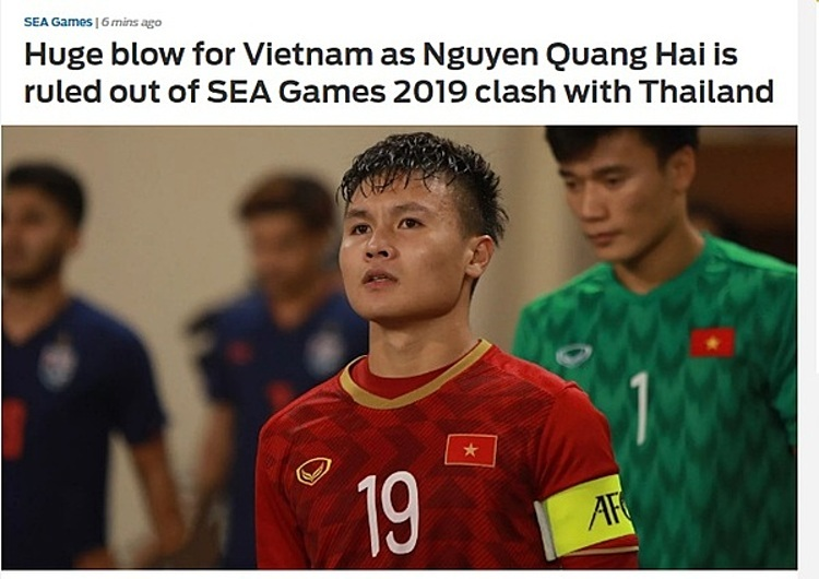 Báo châu Á nhận định Việt Nam gặp khó khăn khi thiếu Quang HảiNhiều tờ báo khu vực, trong đó có Fox Sports và SMM Sport quan tâm tới chấn thương của Quang Hải và dự báo về khó khăn sắp tới của đội tuyển khi đối mặt với Thái Lan.