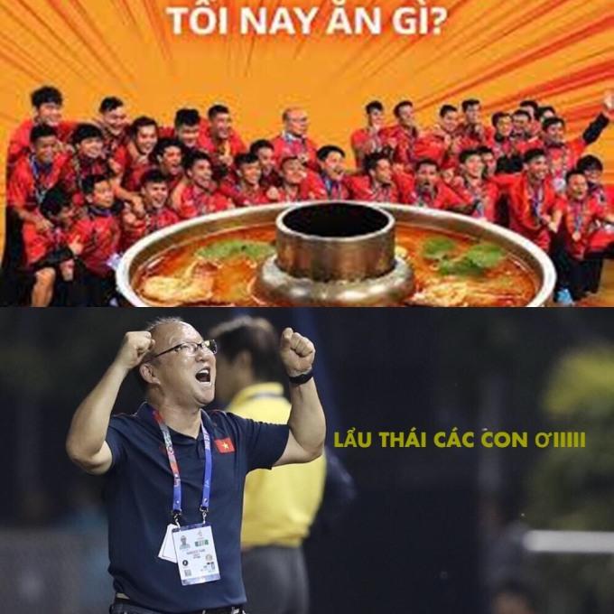 <p> Kết quả Việt Nam cầm hòa Thái Lan 2-2 nhưng với nhiều CĐV đây là một chiến thắng. Hôm nay, đoàn quân của ông Park lại tiếp tục chiêu đãi người hâm mộ bóng đá Việt Nam món ''lẩu Thái siêu cay, khổng lồ''.</p>
