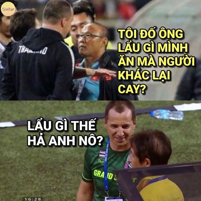 <p> Trước trận đấu, báo Thái nhắc về pha khiêu khích của trợ lý HLV Sasa Todic với ông Park Hang-seo. Cuối trận, hình ảnh của Todic khi Việt Nam được nhận quả đá phạt lại được chế ảnh.</p>