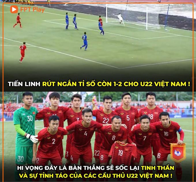 <p> Bốn phút sau khi bàn thắng thứ hai của Thái Lan được lập, từ quả tạt bên cánh trái của Thanh Thịnh, Tiến Linh lẻn vào giữa vòng vây ba hậu vệ áo xanh, rồi đánh đầu căng từ cự ly gần, rút ngắn tỷ số xuống 1-2.</p>