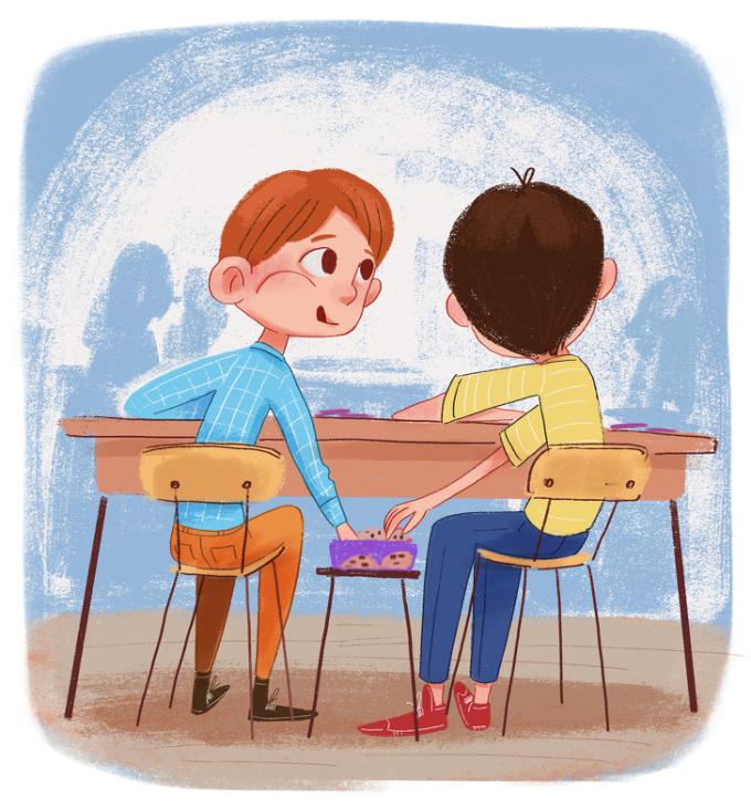 <p> Cô giảng bài trên lớp nhưng ở dưới, những miếng bánh quy, những viên kẹo ngọt ngào được ăn giấu giếm dưới hộc bàn. Có vẻ, ăn lén lút càng khiến chúng ngon gấp bội.</p>
