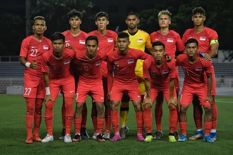 Các cầu thủ U22 Singapore trong trận gặp Việt Nam. Ảnh: ST.