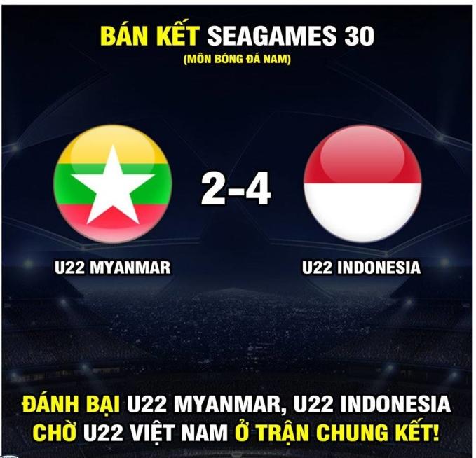 """<p> Thế nhưng, Indonesia chứng minh là đội bóng """"không phải dạng vừa"""" khi chơi lấn lướt Myanmar trong cả 120 phút thi đấu. Họ nhanh chóng dẫn trước 2 bàn, rồi bất ngờ bị Myanmar gỡ hòaa, để rồi vất vả bung sức trong hiệp phụ để giành chiến thắng 4-2.</p>"""