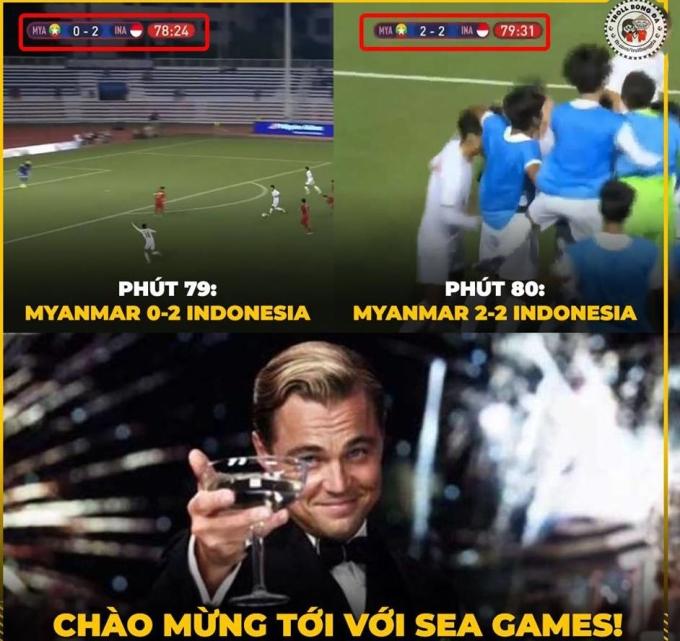 """<p> Ở phút 79, tiền đạo số 13 của Myanmar ghi bàn rút ngắn tỷ số xuống 1-2. Và chỉ một phút sau, họ tiếp tục gỡ hòa 2-2 nhờ sai lầm của thủ môn Nadeo. Chỉ sau hai phút, Indonesia đánh mất lợi thế, đưa trận đấu về vạch xuất phát khiến trận đấu phải cần tới hiệp phụ để phân định thắng thua. Tình huống này khiến khán giả nhớ tới pha <a href=""""https://ione.net/photo/nhip-song/khong-khi-tran-viet-nam-thai-lan-duoc-che-anh-cang-nhu-day-dan-4022783.html"""" rel=""""nofollow"""">gỡ hòa đầy kịch tính </a>của U22 Việt Nam trước U22 Thái Lan hôm 5/12.</p>"""