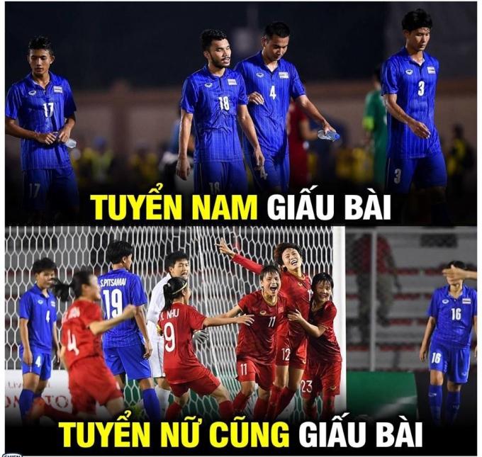 """<p> Phía bên kia chiến tuyến, Thái Lan bị chế ảnh """"giấu bài"""" chờ World Cup.</p>"""