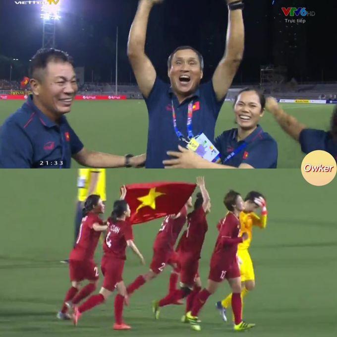 <p> Hình ảnh HLV Mai Đức Chung ăn mừng trên sân cỏ cùng Ban huấn luyện. Trước đó, hình ảnh HLV trưởng đội nữ Việt Nam đi siêu thị mua thêm đồ ăn để học trò đủ no tại SEA Games được <em>Fox Sports </em>và truyền thông khu vực đăng tải.</p>