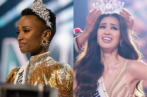 Tân Hoa hậu Hoàn vũ Zozibini và tân Hoa hậu Hoàn vũ Việt Nam Khánh Vân đeo mẫu hoa tai tương tự trong chung kết.