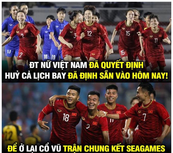 <p> Đội bóng đá nữ Việt Nam cũng hủy kế hoạch về nước ngay sau khi lên ngôi đầu SEA Games để nán lại cổ vũ các chàng trai U22.</p>