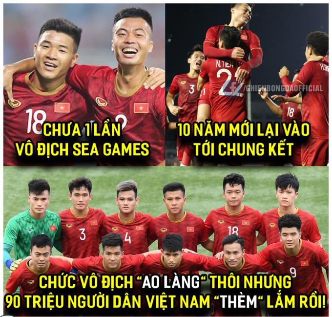 <p> 19h ngày 10/12, U22 Việt Nam sẽ đối đầu U22 Indonesia tại chung kết bóng đá nam SEA Games 2019 trên sân vận động Rizal Memorial, Philippines. Đoàn quân của HLV Park đang được kỳ vọng giành ngôi vô địch sau gần 60 năm chờ đợi.</p>