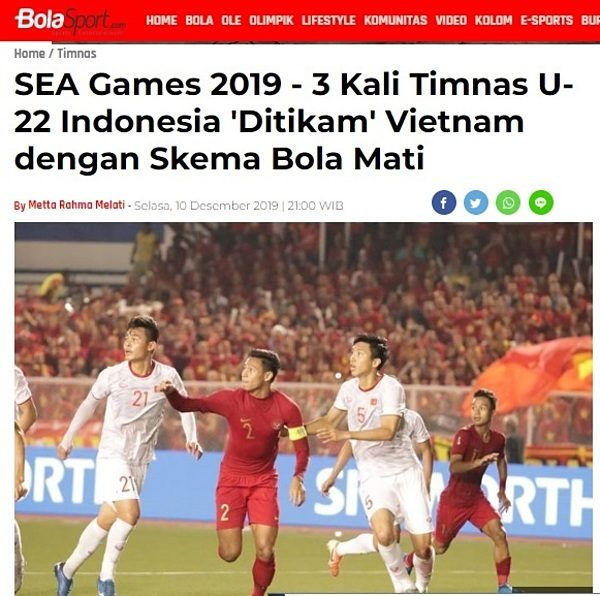Tờ Bola Sports chúc mừng chiến thắng của Việt Nam.