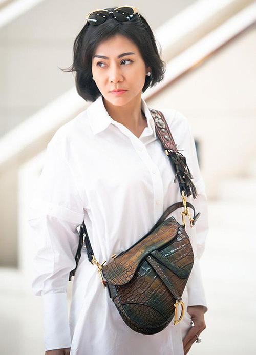 Trước đó, Thu Minh cũng từng sở hữu mẫu túi Saddle Dior làm bằng da cá sấu màu nâu socola lạ mắt. Cô tiết lộ mẫu túi này chỉ có 3 chiếc trên thế giới và Thu Minh là người đầu tiên tại Việt Nam sở hữu.