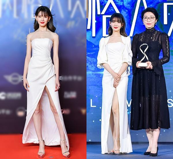 Cùng tham gia sự kiện còn có nữ diễn viên Trần Dao. Cô diện đầm quây màu trắng, xẻ cao khoe chân, mát mẻ hơn cả Nghê Ni. Nữ diễn viên sau đó nhanh chóng khoác thêm áo để lên trao giải.
